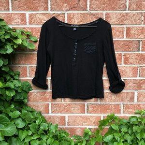 FREE* Black 3/4 Length Sleeve Top